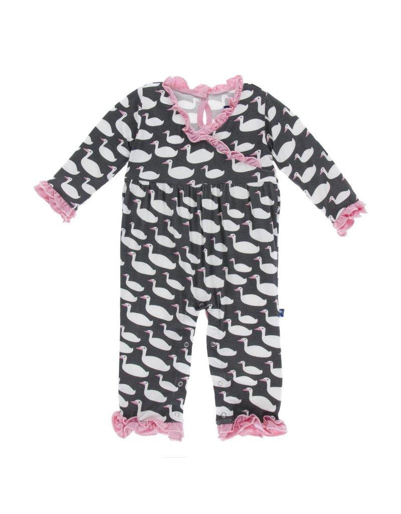 KicKee Pants KicKee Pants Print Long Sleeve Kimono Ruffle Romper - Stone Geese