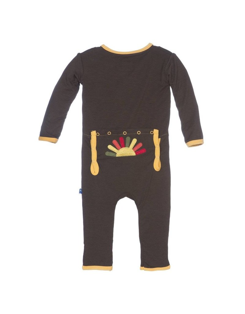 KicKee Pants KicKee Pants Layette Applique Coverall - Turkey (Bark)