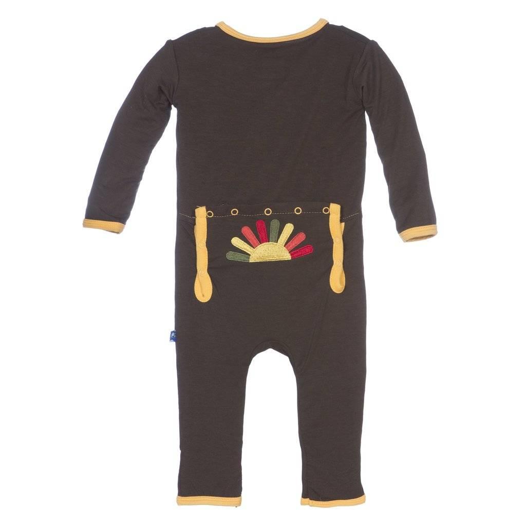 KicKee Pants KicKee Pants Layette Applique Coverall - Turkey (Bark)
