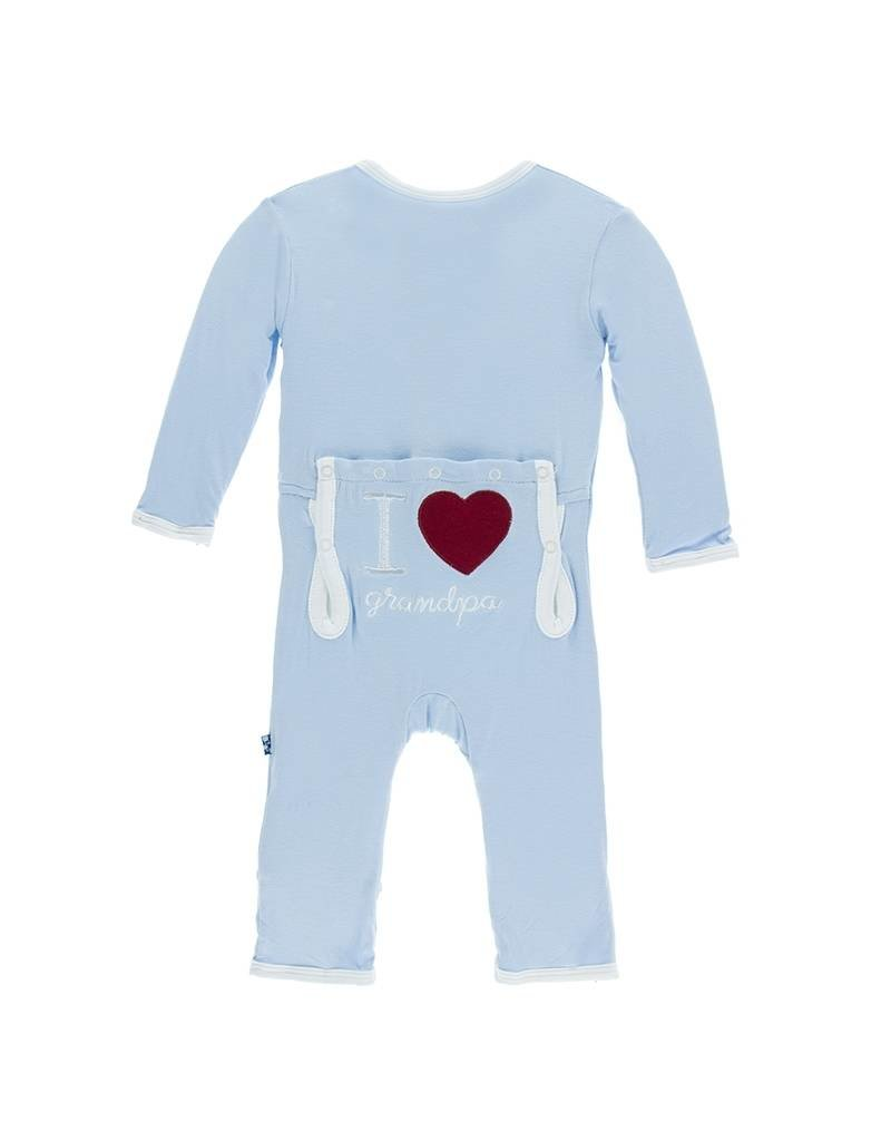 KicKee Pants KicKee Pants Layette Applique Coverall - Pond - I Love Grandpa (Pond)