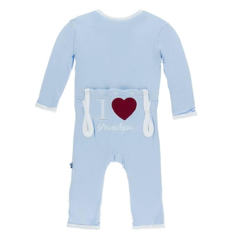 KicKee Pants KicKee Pants Layette Applique Coverall - Pond - I Love Grandpa (Pond)