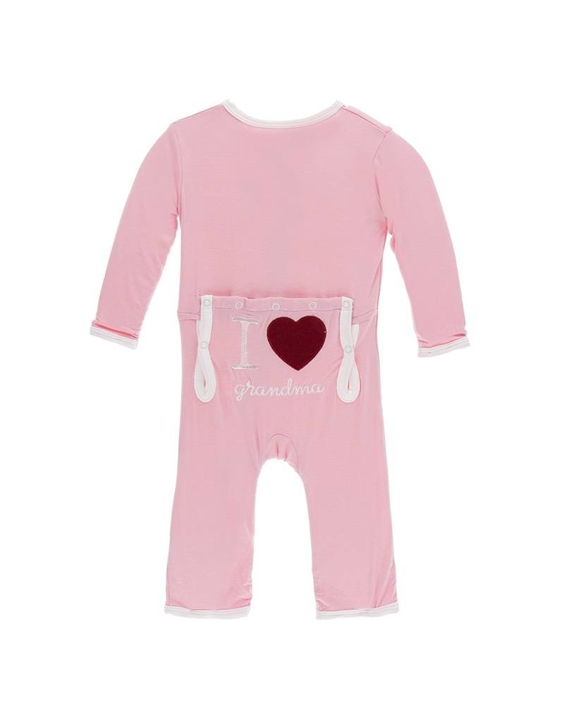 KicKee Pants KicKee Pants Layette Applique Coverall - I Love Grandma (Lotus)