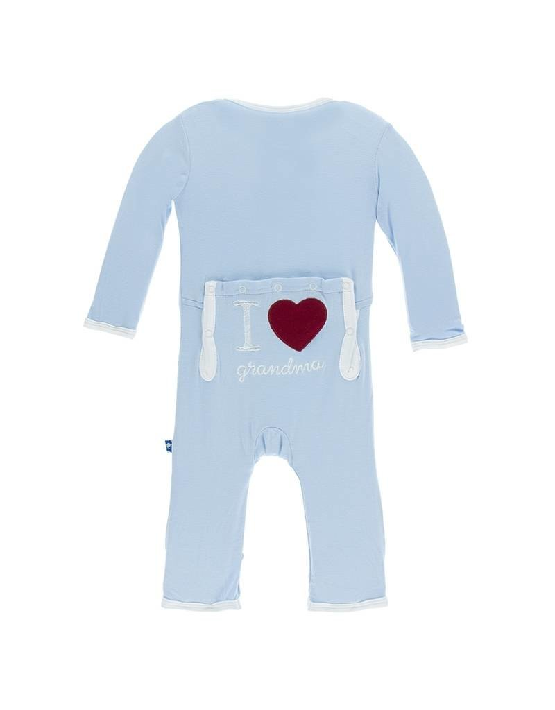 KicKee Pants KicKee Pants Layette Applique Coverall - I Love Grandma (Pond)