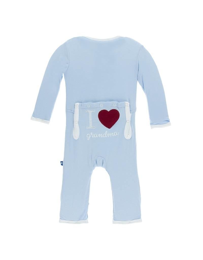 KicKee Pants KicKee Pants Layette Applique Coverall - I Love Grandma (Pond)