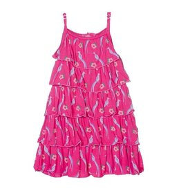KicKee Pants Print Tiered Ruffle Dress
