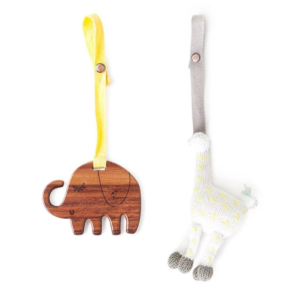 Finn + Emma Organic Stroller Toy & Wooden Teether Set