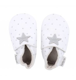 Bobux Bobux Soft Sole Shoe in White with Silver Stars