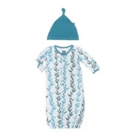 KicKee Pants Layette Converter Gown & Knot Hat Set