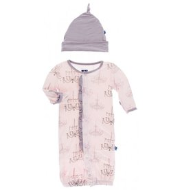 KicKee Pants KicKee Pants Ruffle Layette Gown Converter and Knot Hat Set in Macaroon Chandelier