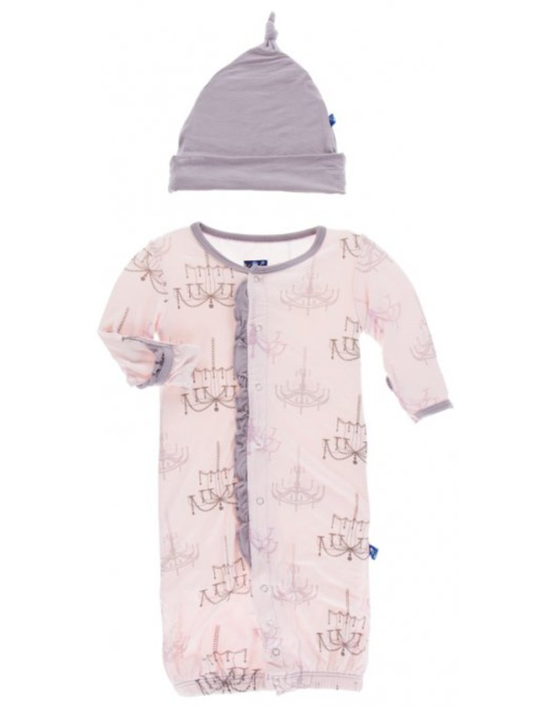 KicKee Pants KicKee Pants Ruffle Layette Gown Converter and Knot Hat Set - Macaroon Chandelier