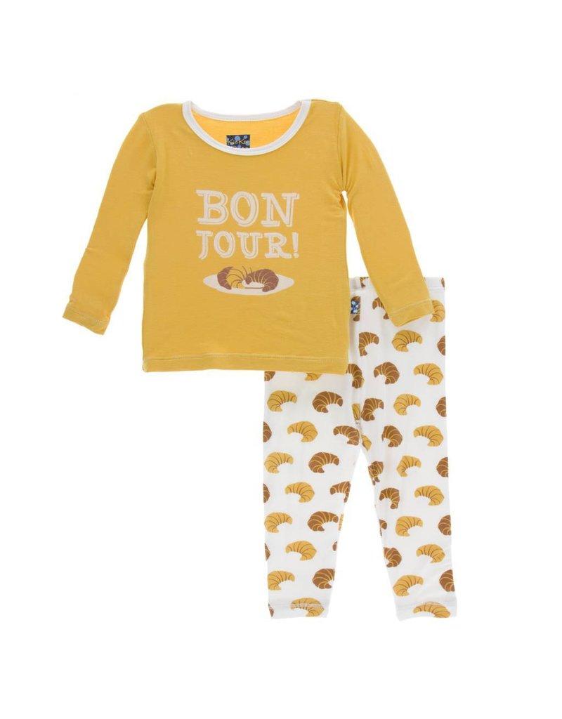 KicKee Pants KicKee Pants Longsleeve Pajama Set - Natural Croissants