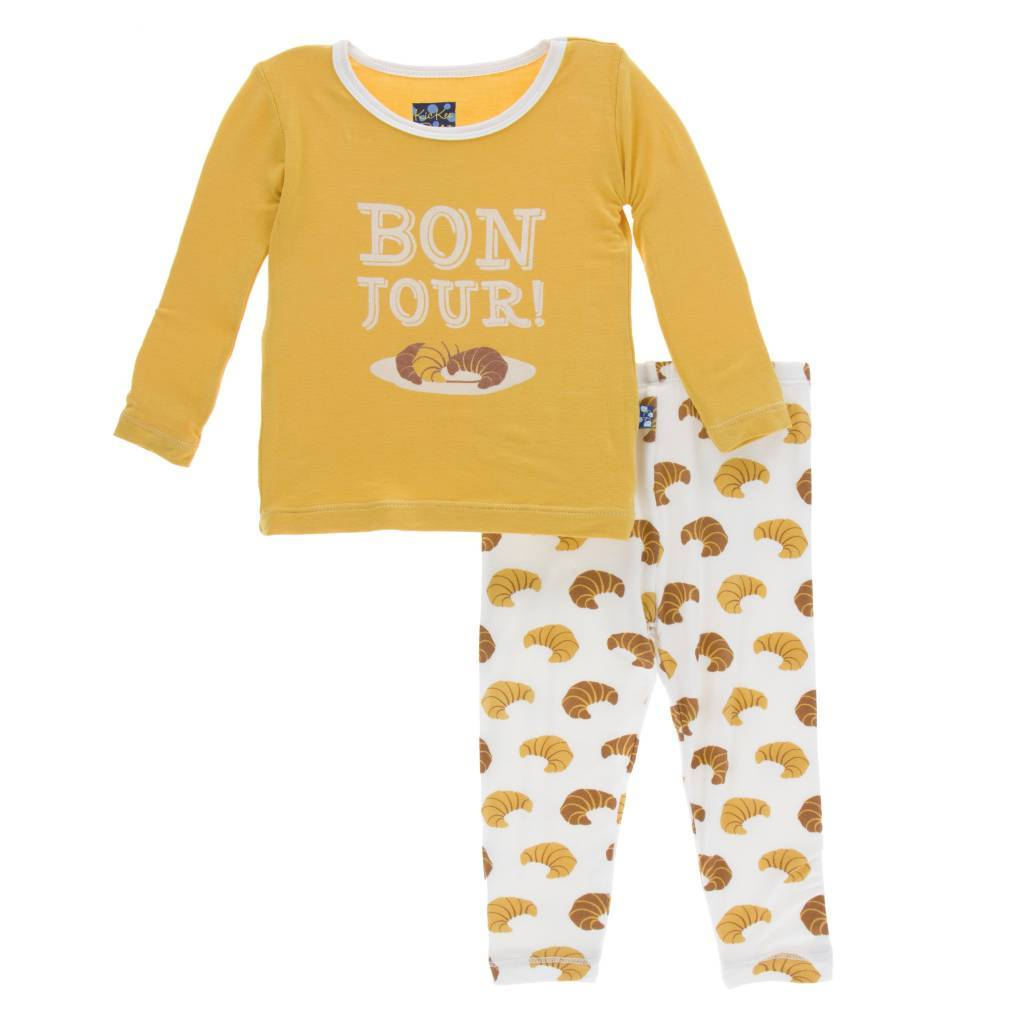 KicKee Pants KicKee Pants Longsleeve Pajama Set in Natural Croissants