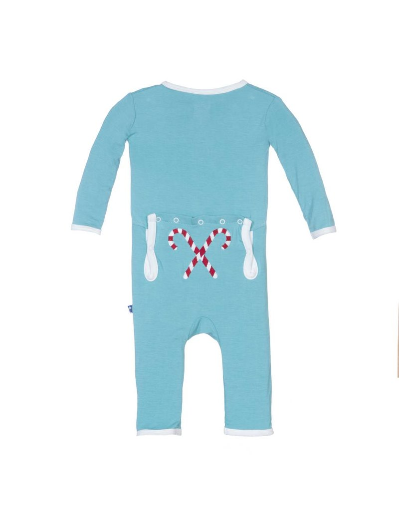 KicKee Pants KicKee Pants Holiday Layette Applique Coverall - Glacier Candy Cane