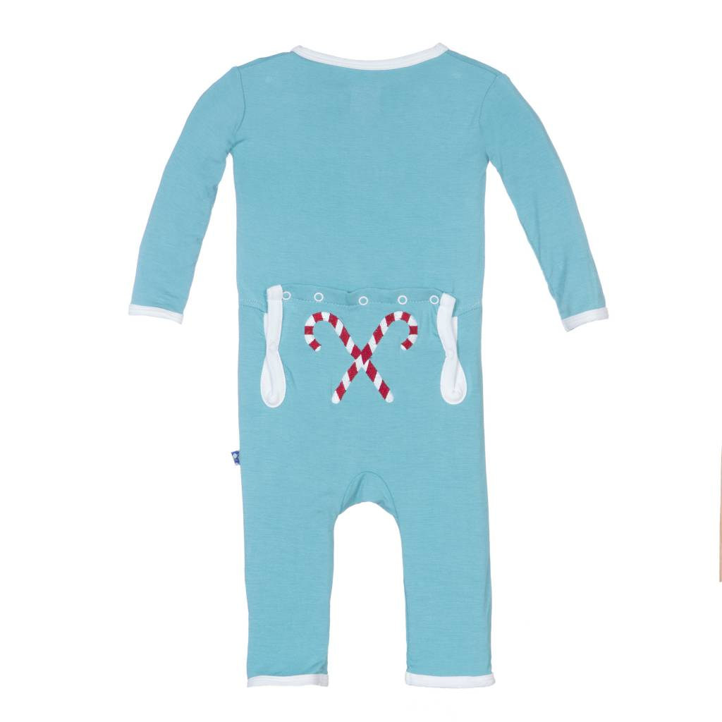 KicKee Pants KicKee Pants Holiday Layette Applique Coverall in Glacier Candy Cane