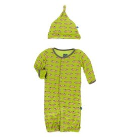 KicKee Pants KicKee Pants Layette Gown Converter & Knot Hat Set (Meadow Cow)