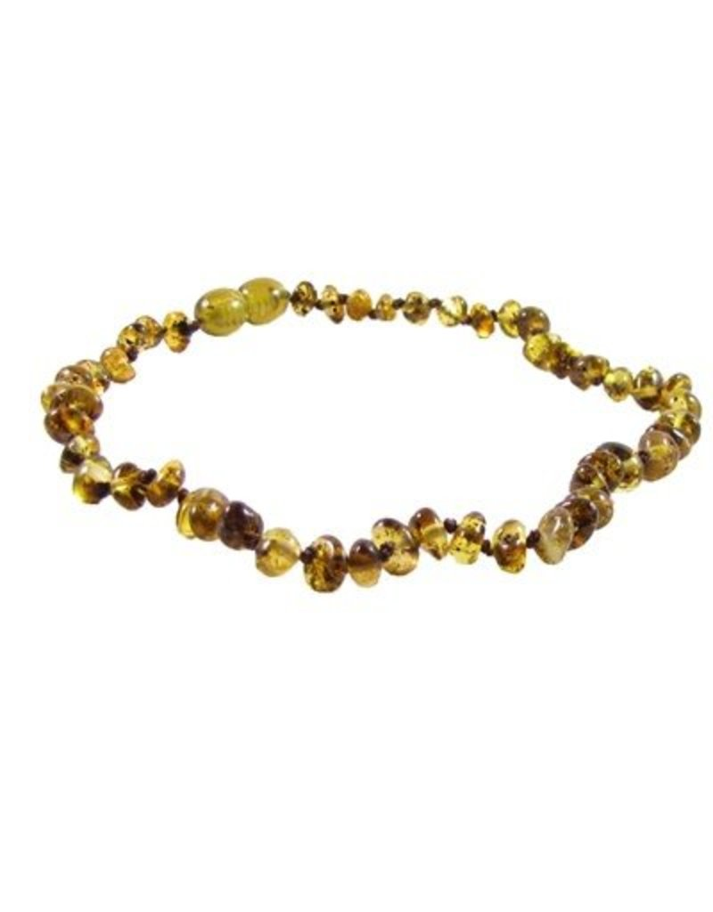 The Amber Monkey 12-13 in. Amber Teething Necklace - Pop Clasp - Polished