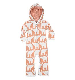 Milkbarn Organic Hooded Romper - Rose Elephant