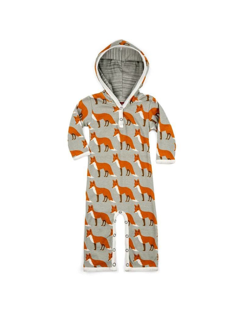 Milkbarn Organic Hooded Romper - Orange Fox