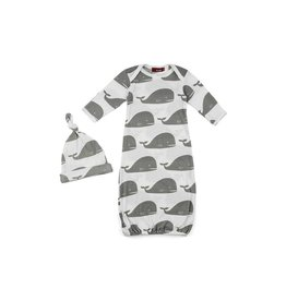 Milkbarn Milkbarn Newborn Gown & Hat Set - Grey Whale - 0-3 mo