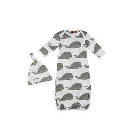 Milkbarn Milkbarn Newborn Gown & Hat Set in Grey Whale  0-3 mo