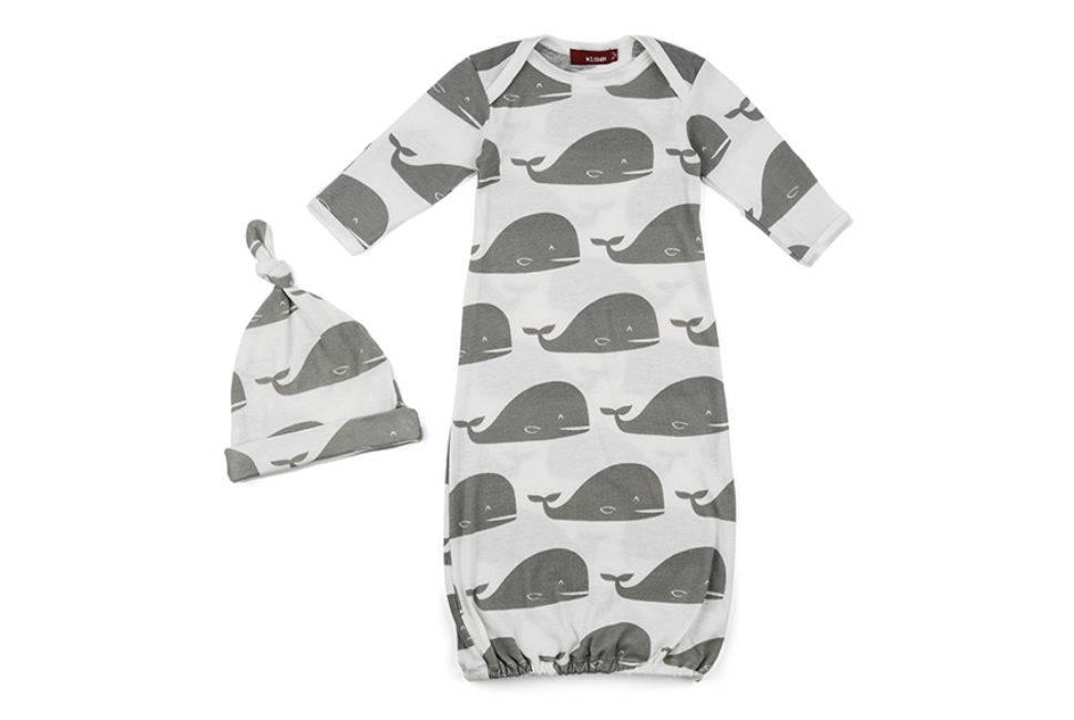 organic gown & hat set gray whale - ZukaBaby