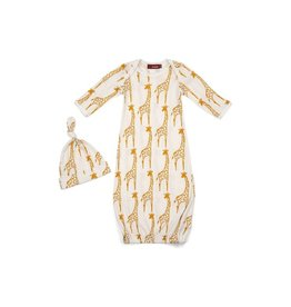 Milkbarn Organic Newborn Gown & Hat Set - Yellow Giraffe - 0-3 mo