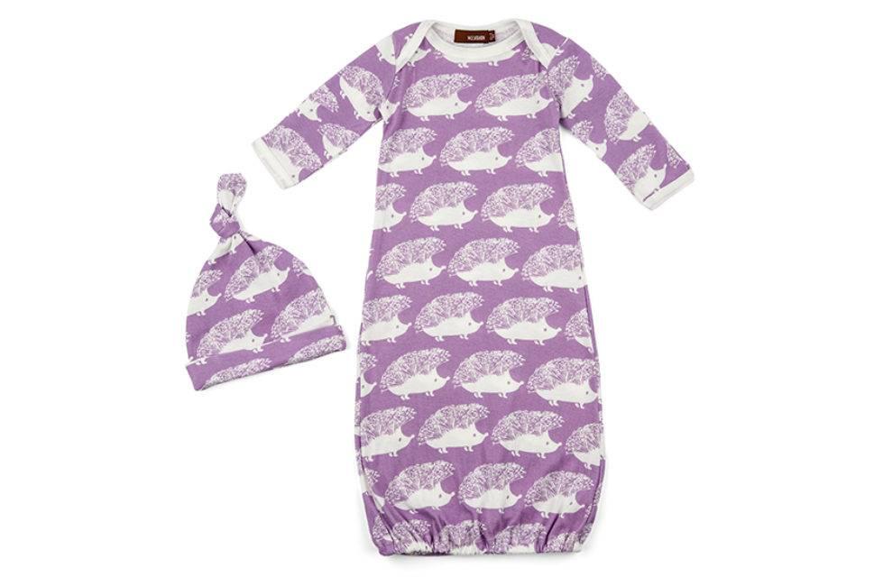 Milkbarn Organic Newborn Gown & Hat Set - Lavender Hedgehog - 0-3 mo