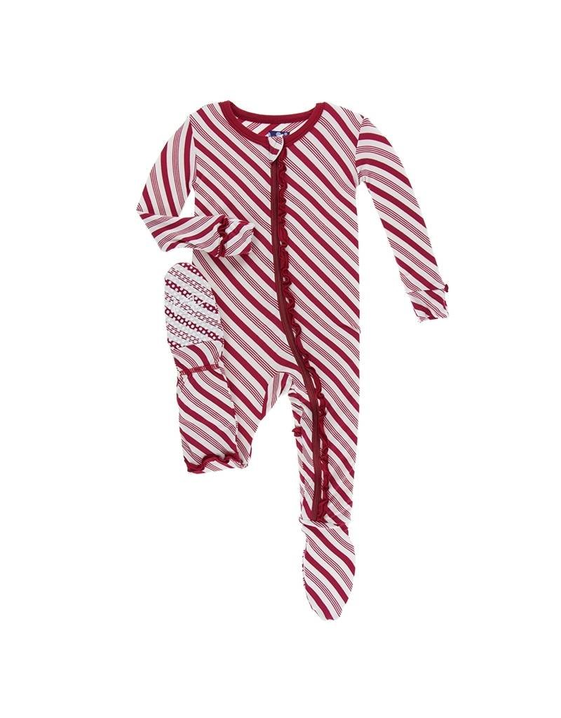 KicKee Pants Kickee Pants Classic Ruffle Footie with Zipper in Crimson Candy Cane Stripe