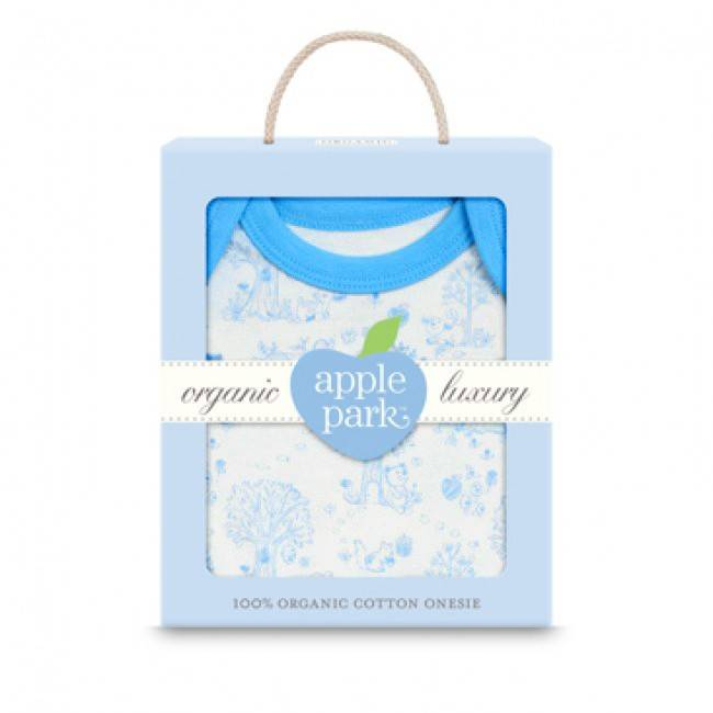 Apple Park Organic Short Sleeve Onesie in Gift Box - Blue Storybook