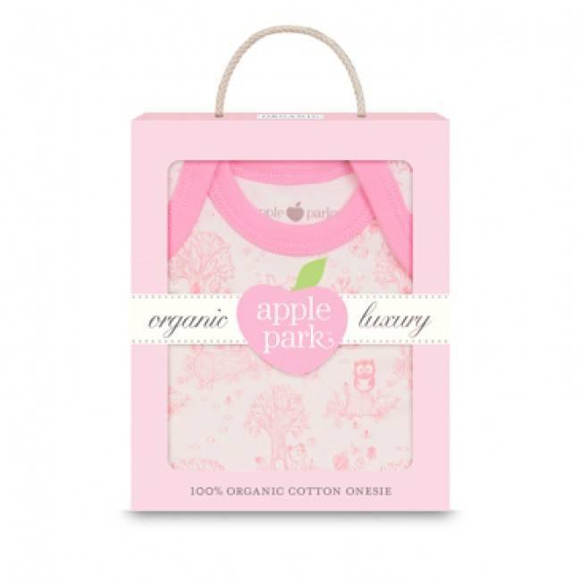 Apple Park Organic Short Sleeve Onesie in Gift Box - Pink Storybook