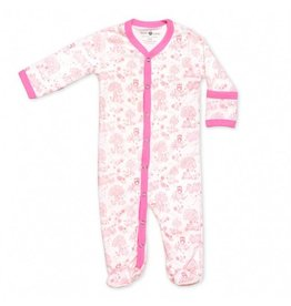 Apple Park Organic Long Sleeve Footie - Pink Storybook