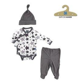 KicKee Pants KicKee Pants: Essentials Kimono Newborn Gift Set in Feather/Rain Stars