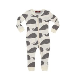 Milkbarn Organic Zipper Pajama in Grey Whale