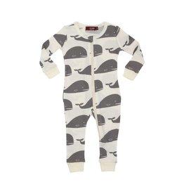 Organic Zipper Pajama in Grey Whale