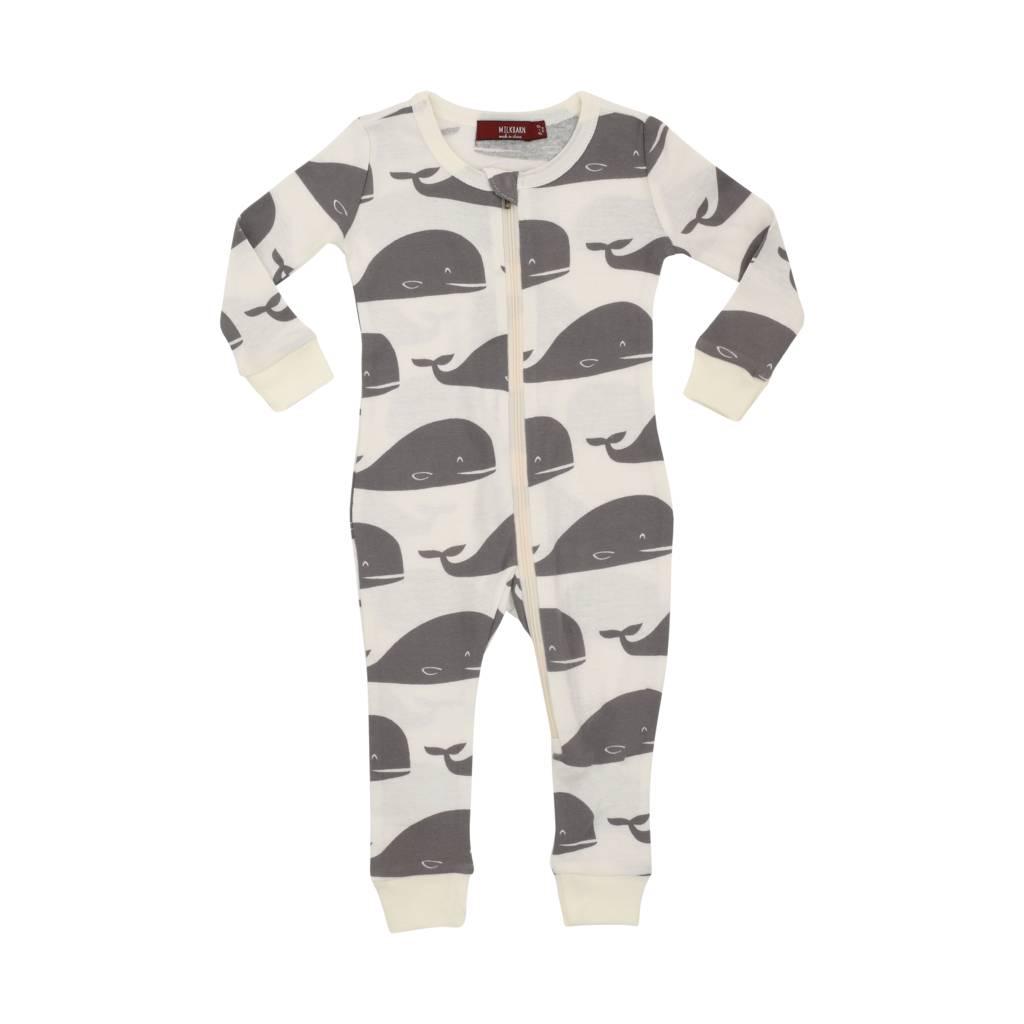 Milkbarn Organic Zipper Pajama in Grey Whale