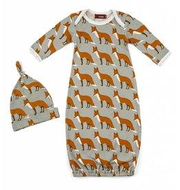 Newborn Gown & Hat Set in Orange Fox 0-3 mo