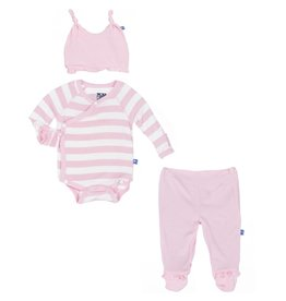 KicKee Pants KicKee Pants: Essentials Ruffle Kimono Newborn Gift Set in Lotus Stripe