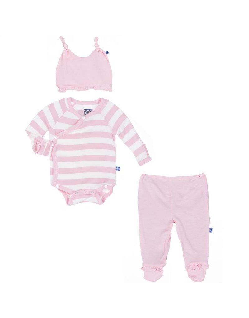 KicKee Pants KicKee Pants: Essentials Ruffle Kimono Newborn Gift Set in Lotus Stripe