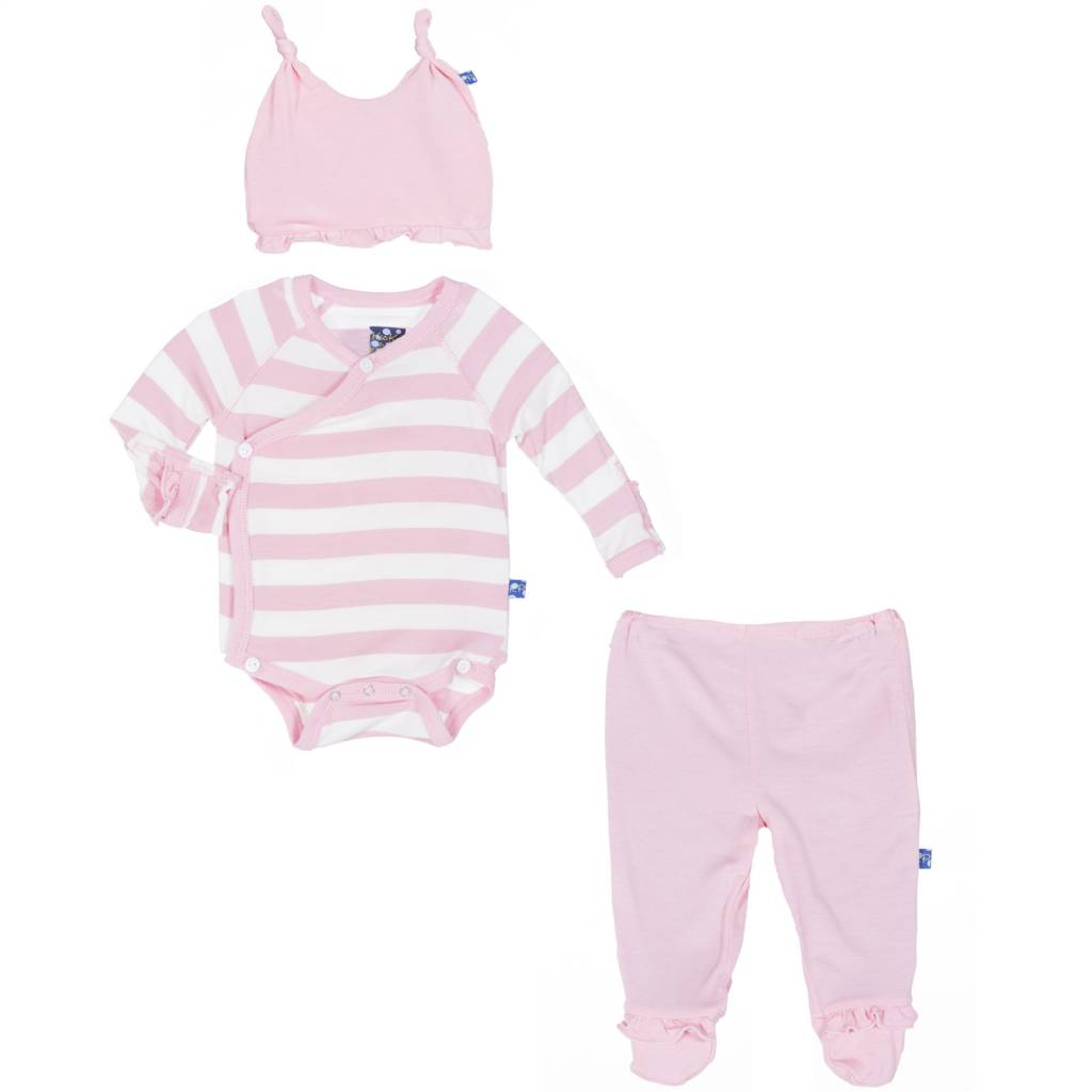 KicKee Pants KicKee Pants Ruffle Kimono Newborn Gift Set in Lotus Stripe