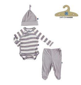 KicKee Pants KicKee Pants: Essentials Kimono Newborn Gift Set in Feather Contrast Stripe