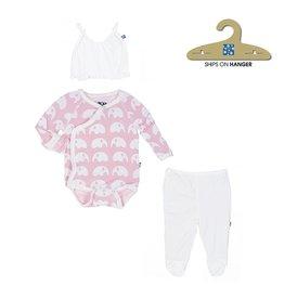 KicKee Pants KicKee Pants: Essentials Ruffle Kimono Newborn Gift Set in Lotus Elephant