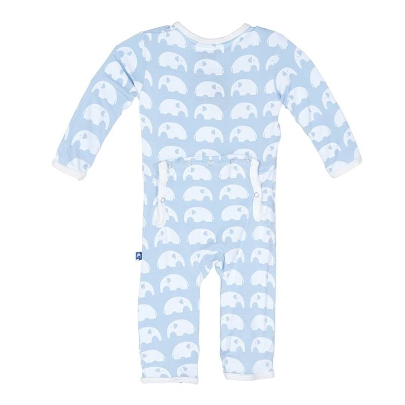KicKee Pants Kickee Pants Essentials Coverall in Pond Elephant