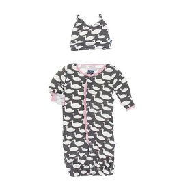 KicKee Pants KicKee Pants Ruffle Layette Gown Coverter & Knot Hat Set