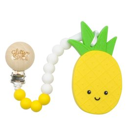 glitter and spice Clip on Silicone Teether - Pineapple