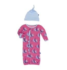 Kickee Pants Print Ruffle Layette Gown Converter & Knot Hat Set in Flamingo Sailing Race