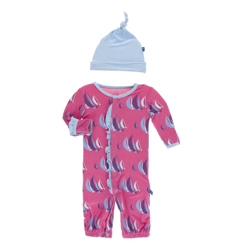KicKee Pants Kickee Pants Ruffle Layette Gown Converter & Knot Hat Set in Flamingo Sailing Race