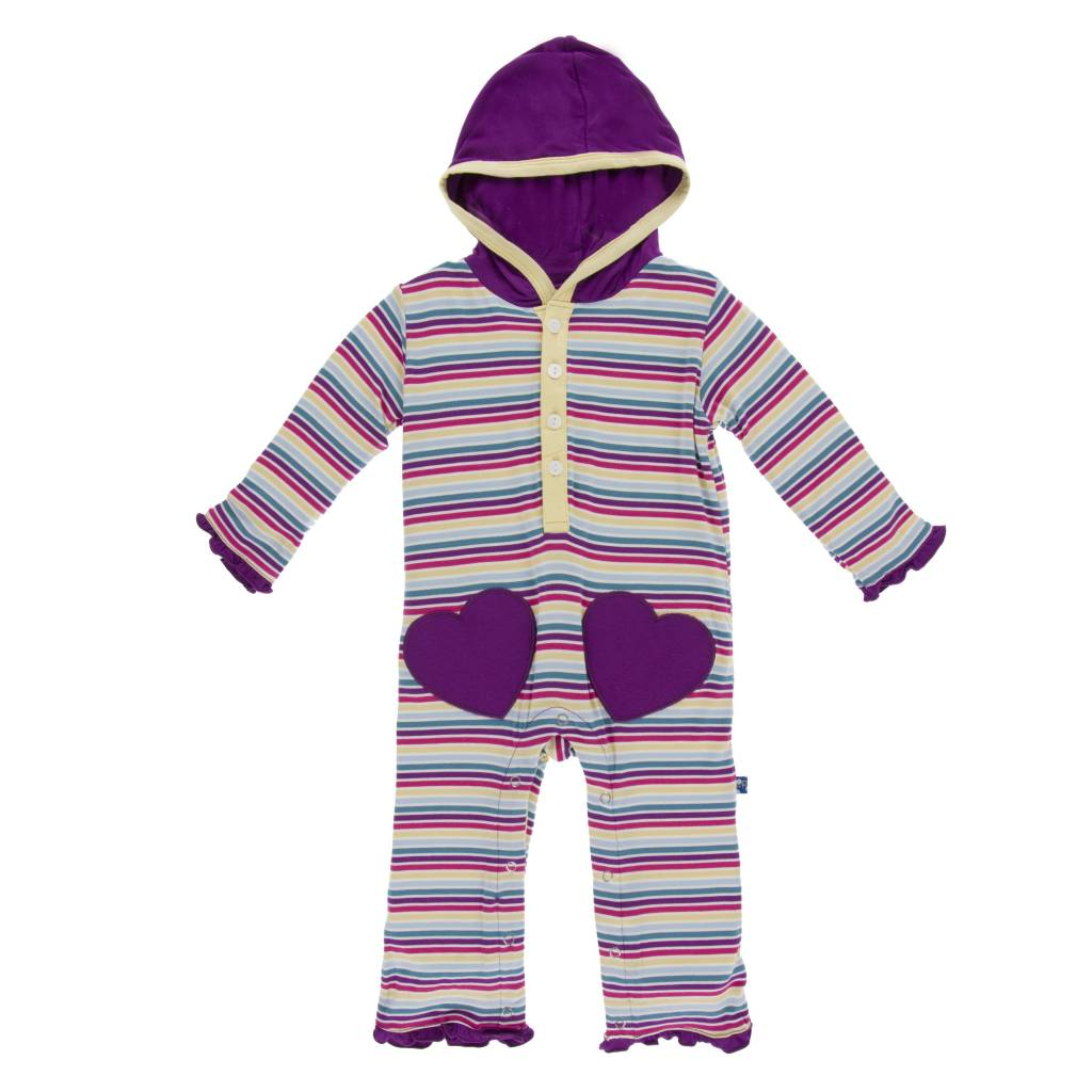 KicKee Pants Kickee Pants Print Long Sleeve Heart Pocket Hoodie Romper in Girl Perth Stripe