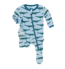 Kickee Pants Print Footie with Zipper in Pond Crocodile