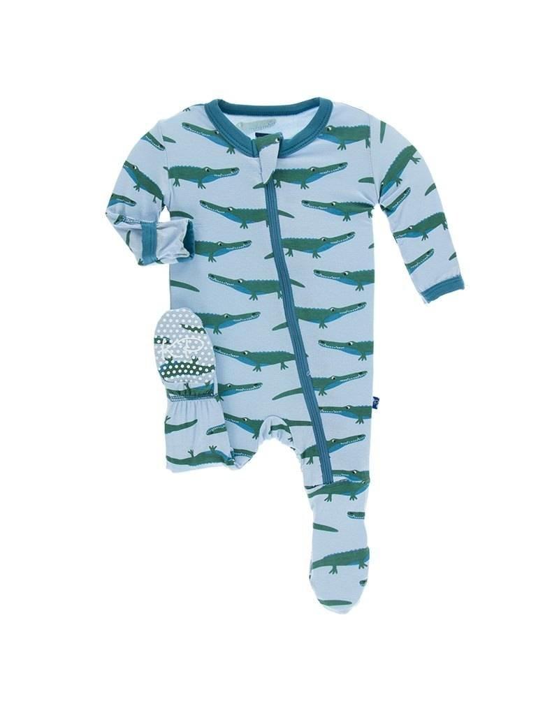 KicKee Pants Kickee Pants Print Footie with Zipper in Pond Crocodile