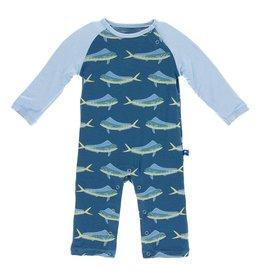 KicKee Pants Kickee Pants Print Long Sleeve Raglan Romper in Twilight Dolphin Fish